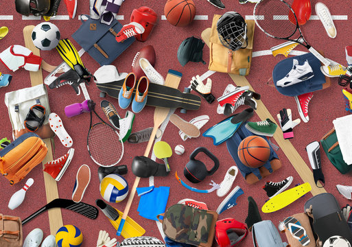 Sports equipment and clothing are scattered in the gym