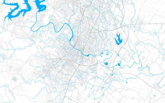 Rich detailed vector map of Austin, Texas, U.S.A.