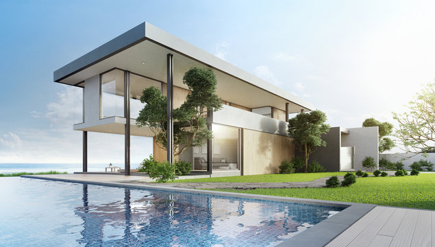 Luxury beach house with sea view swimming pool and terrace in modern design. Empty wooden floor deck at vacation home. 3d illustration of contemporary holiday villa exterior.