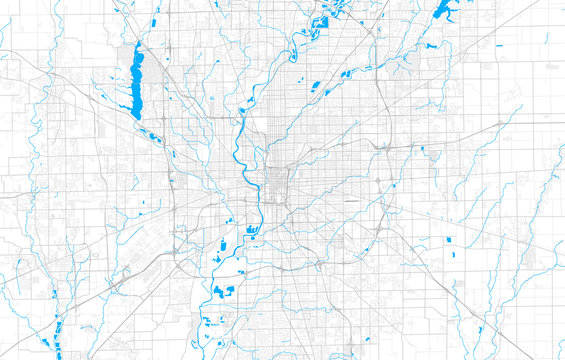Rich detailed vector map of Indianapolis, Indiana, U.S.A.