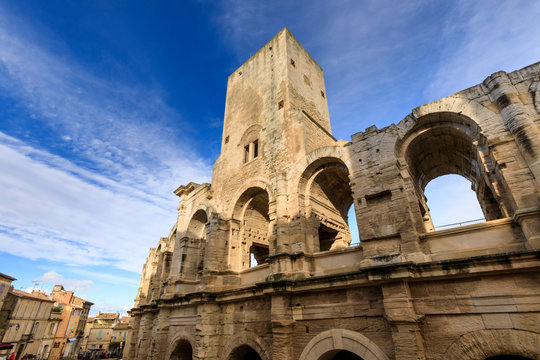 Arles Amphitheatre, Roman ruin, evening light, Arles, Bouches du Rhone, Provence, France