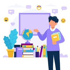 Male teacher with books and chalkboard. Concept illustration for school, education, university. Vector illustration in flat style