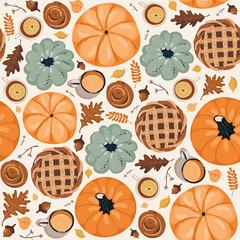 Cute seamless autumn pattern background. Autumn wallpaper
