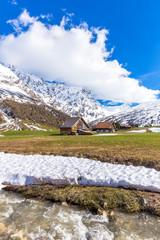 Traditional huts in Val Radons (Radons Valley), Albula region, Canton of Grisons (Graubunden)