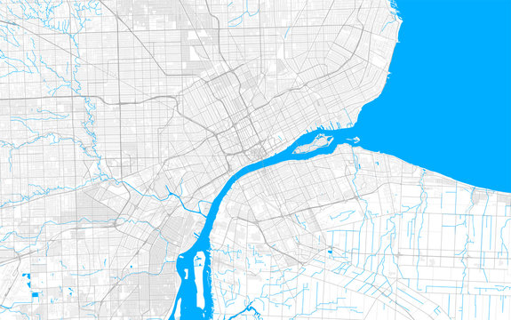 Rich detailed vector map of Detroit, Michigan, U.S.A.