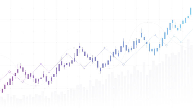 abstract financial chart with uptrend line candlestick graph in stock market on white color background