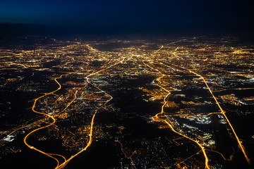 Staande foto Nacht snelweg Aerial view of a city of Moscow at night. City of Moscow picture made from airplane.
