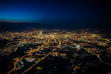 Aerial view of Moscow at night. City of Moscow picture from airplane.