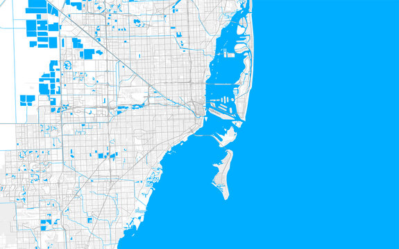 Rich detailed vector map of Miami, Florida, U.S.A.