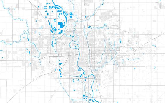 Rich detailed vector map of Wichita, Kansas, U.S.A.
