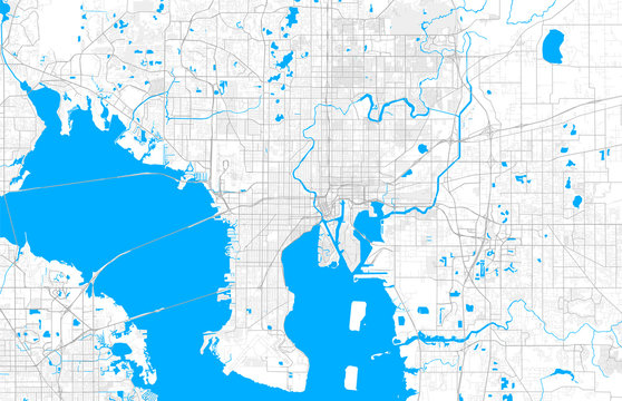 Rich detailed vector map of Tampa, Florida, U.S.A.