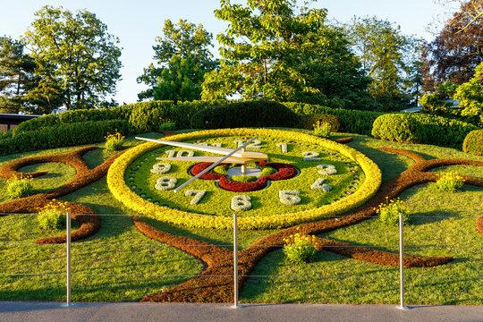Outdoor flower clock in Geneva, Switzerland