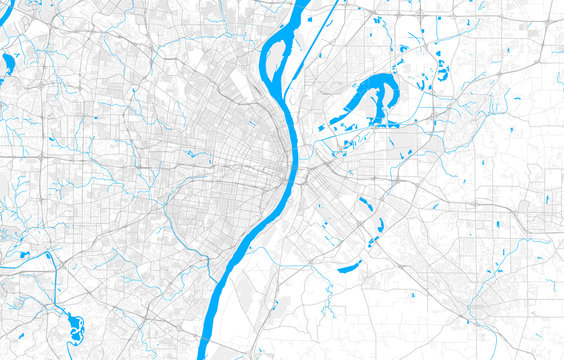Rich detailed vector map of St. Louis, Missouri, U.S.A.