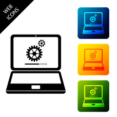Laptop and gears icon isolated. Laptop service concept. Adjusting app, setting options, maintenance, repair, fixing laptop concepts. Set icons colorful square buttons. Vector Illustration