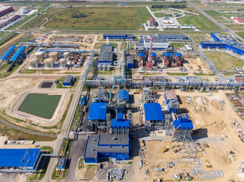 Plant for the production of liquefied natural gas. Construction of a factory for pumping liquefied gas. Aerial shooting with a drone.