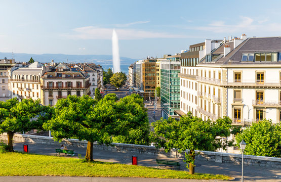 Cityscape of Geneva with Jet d'eau fountain