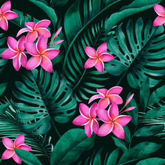 Tropical seamless pattern with plumeria flowers, exotic monstera, banana and palm leaves on dark background.