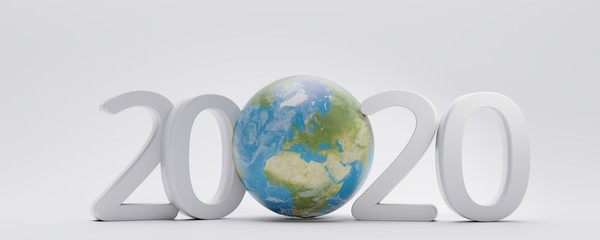 2020 fine letters with planet earth globe 3d-illustration. elements of this image furnished by NASA