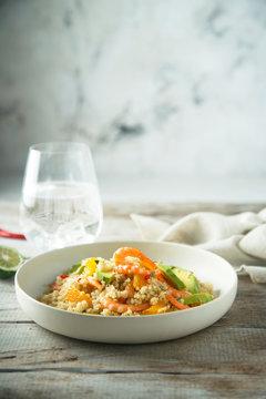 Quinoa with shrimps and avocado