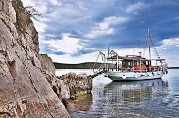 Greece-boat at the beach Kondyli