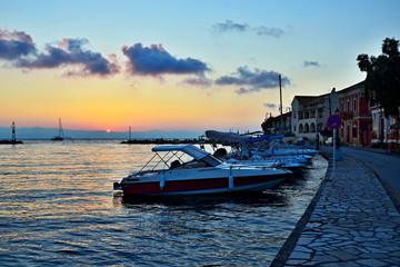 Greece,island Paxos-sunrise in the harbor Gaios