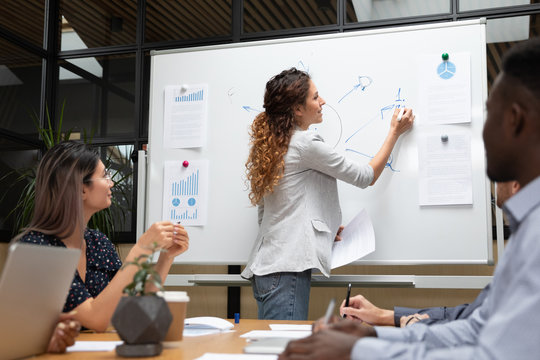 Businesswoman presentation conductor drawing on whiteboard at group training