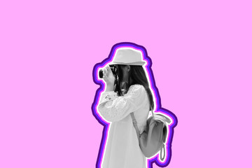 Funny cool girl with camera wearing hat, dress over pink background. Cartoon social network stickers.