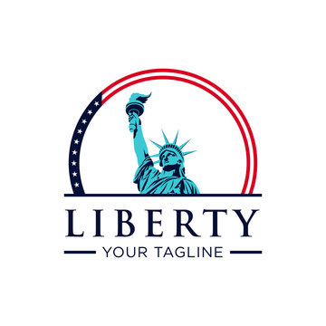 Liberty with american flag color logo design template