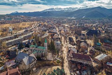 Aerial view of Zakopane and Tatry mountains