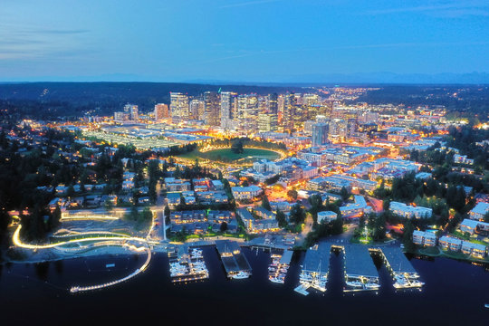 Drone shot of the city of Bellevue from above