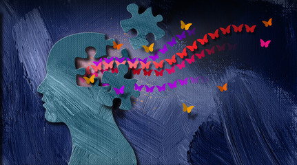 Graphic abstract stream of dreamlike butterflies flowing from puzzle opening in mind