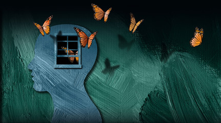 Fototapeta Graphic abstract of set free butterflies escaping open window of the mind obraz