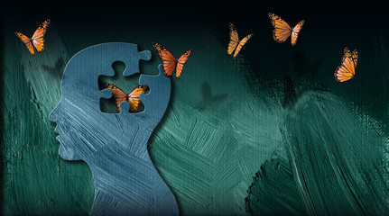 Graphic abstract of dreamlike butterflies flowing from iconic puzzle opening in mind