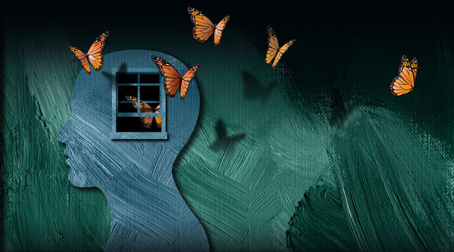Graphic abstract of set free butterflies escaping open window of the mind
