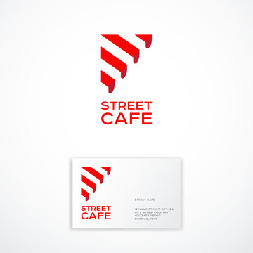 Street Cafe logo. Cafe or Restaurant emblem. Striped awning and letters.