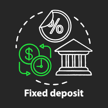 Savings chalk concept icon. Fixed deposit idea. Creating investment account. Getting bigger profits, interest until maturity date. Financial services. Vector isolated chalkboard illustration