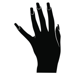 Beautiful female hand with long nails in elegant gesture. Top view. Black and white silhouette.