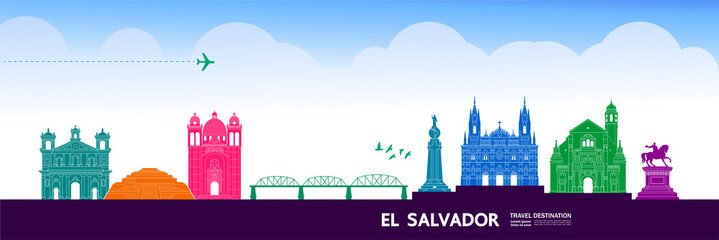 Fototapete - El Salvador travel destination grand vector illustration.