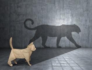 Concept of hidden potential. A paper figure of a cat that fills the shadow of a jaguar. 3D illustration