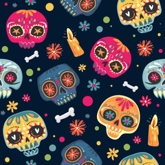 Foto op Canvas Aquarel Schedel Mexican holiday Day of the Dead , Dia de los Muertos . Seamless pattern with sugar skulls and flowers