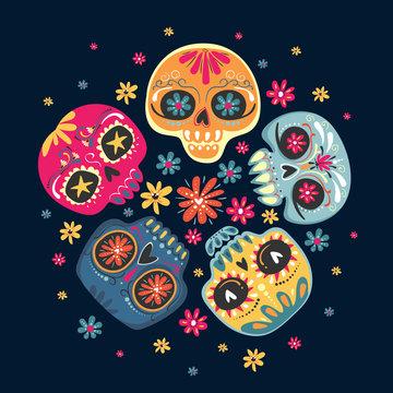 Dia de Los Muertos, Mexican Day of the Dead. Vector illustration with sugar skulls