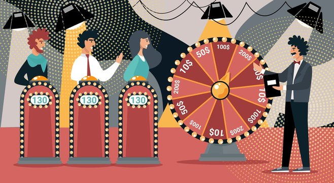 Quiz Show Vector Illustration. Man Game Show Host, Cartoon People Contestant. Television Night Gameshow Entertainment. Woman Participant Answer Question, Win Money Prize. TV Competition