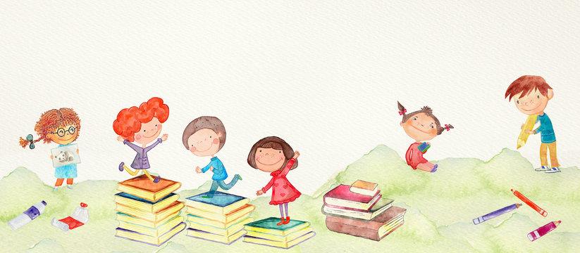 School children. watercolor.