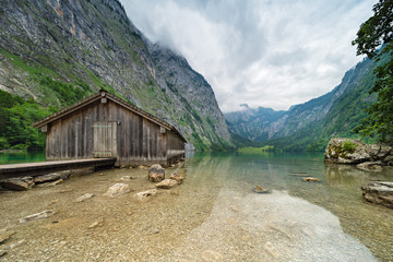 Lake Obersee with Wooden Boathouse, Berchtesgaden National Park, Alps, Bavaria, Germany