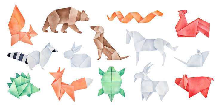 Big pack of various folded Origami Animals. Green, red, orange, brown, gray colors. Hand drawn watercolour geometric sketch on white background, cut out clipart elementsfor creative design decoration.
