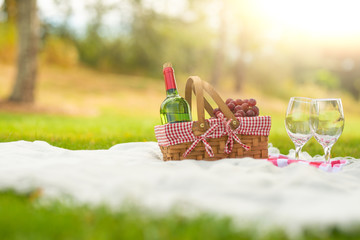 A bottle of red wine with glasses and fruit on a green meadow. Picnic and relaxation on nature. Sunny and bright mood.
