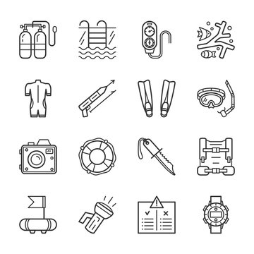 Diving equipment, accessories and scuba gear thin line icons set