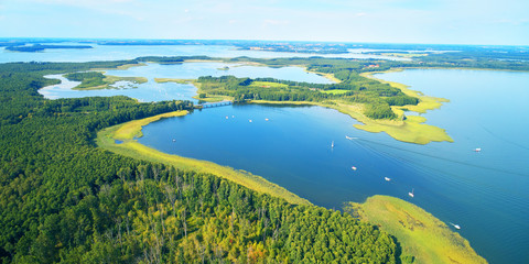 Canvas Prints Pool Aerial landscape from the drone- masuria lake district in Poland