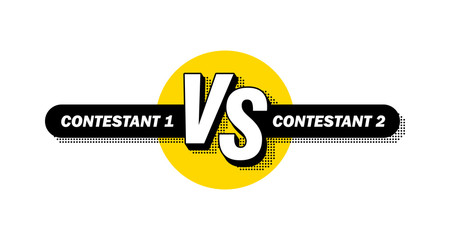 Versus screen. Vs battle headline, conflict duel between teams. Confrontation fight competition. Vector background template