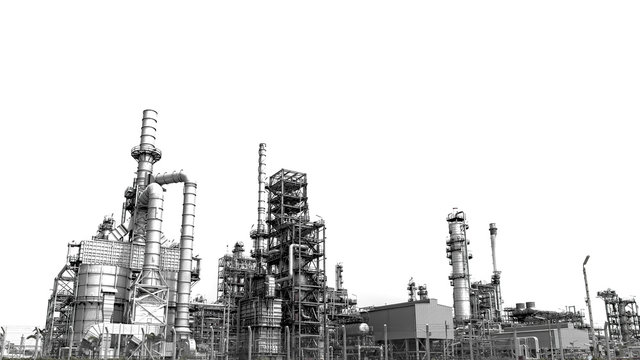 Close-up industrial oil and gas refinery zone,Detail of equipment oil pipeline steel with valves on-off reduce the pressure in the production at refining factory. Silhouettes on white background.